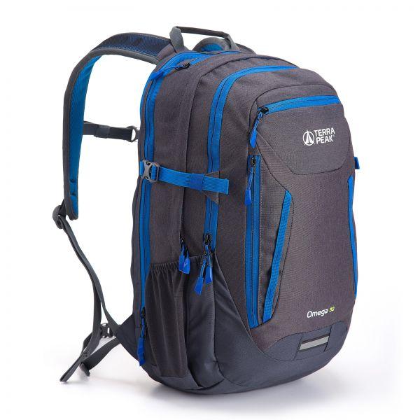 Rucksack Omega 30, grey / blue